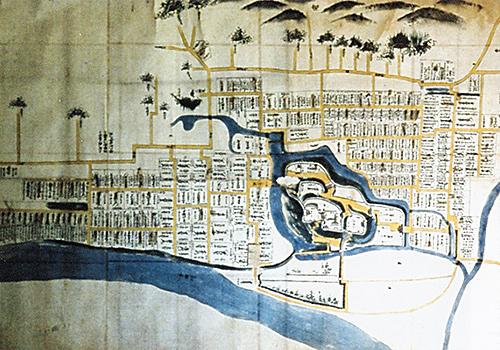 松平時代飯山城下町絵図(飯山小学校蔵)